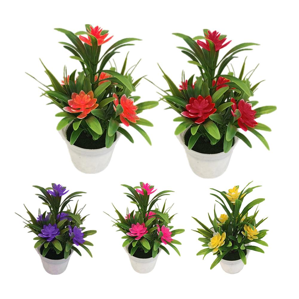 Artificial Fake Lotus Flower Potted Plant Bonsai Wedding Party Garden Home Decor Artificial Plants New Cheap Fake Flowers
