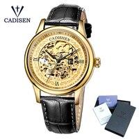 Cadisen золотые часы для мужчин Скелет механические часы нержавеющая сталь топ брендов класса люкс Человек Часы Montre Homme кожа наручные ч