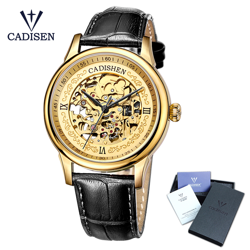 Cadisen Golden Watches Men Skeleton Mechanical Watch Stainless Steel Top Brands Luxury Man Watch Montre Homme Leather Wristwatch outad men skeleton mechanical hand wind watch leather top brands luxury male montre homme rome number display wristwatch relogio