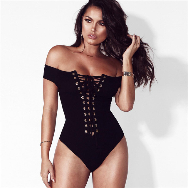 ad1ef8e0d9 NuoJin Sexy Lace up Bodysuit Women Cross Back Rompers Women Jumpsuit Off  the Shoulder Black Bodycon Bodysuits Overalls Playsuit