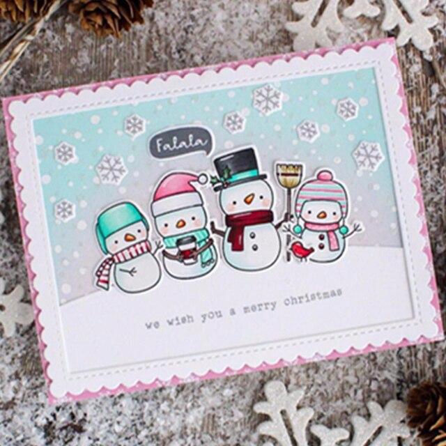 AZSG Vrolijk Kerstfeest Schattige Beer Herten Sneeuwpop Stansmessen Clear Stempels Voor DIY Scrapbooking/Album Decoratieve Silicon Stempel Craft