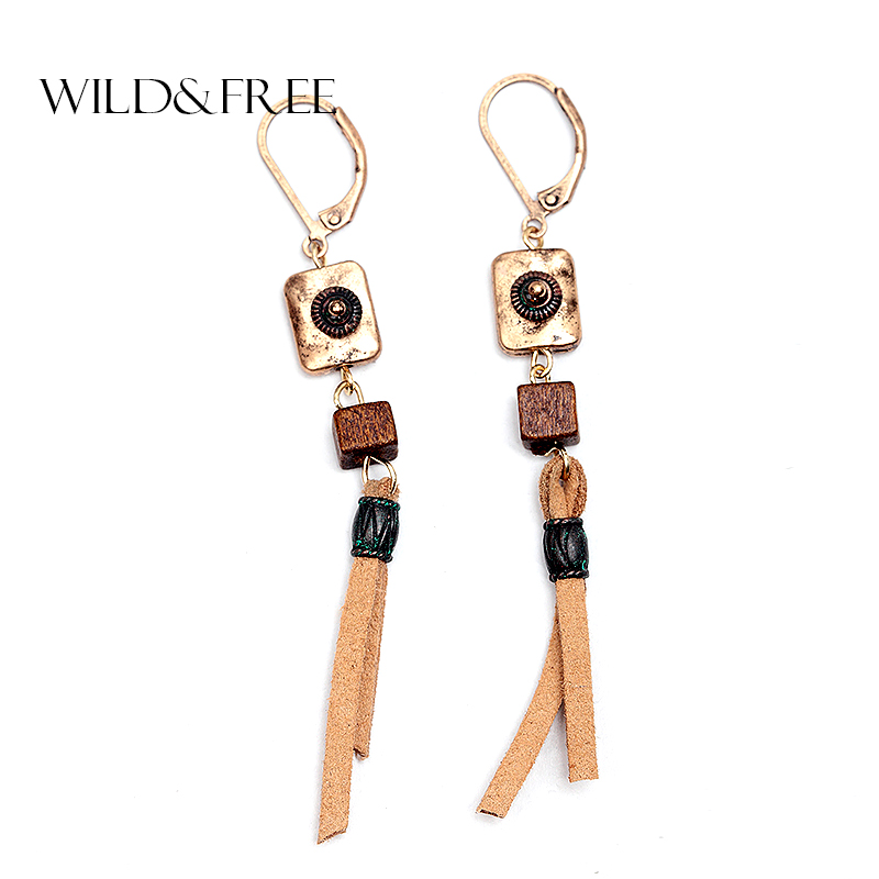 WILD & FREE Vintage Brown Suede Dangle Earrings For Women Wooden Bead Pendant Drop Earrings Handmade Jewelry Gift Wholesale