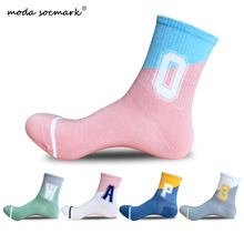 Moda Socmark Summer Socks Women Cotton Patchwork Cute Long Letter Harajuku Ladies Thick White Warm Glitter