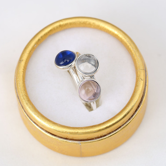 Sterling Silver Poetic Droplet Pink Blue Clear Crystal Ring