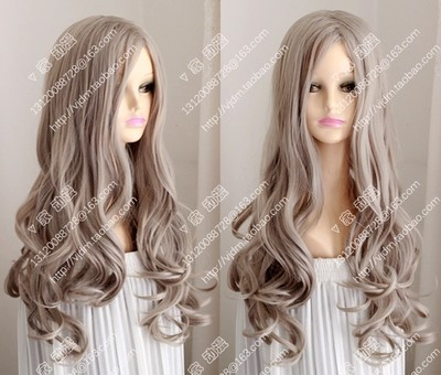 Free shipping CINDERELLA curly hair wig Ash blonde fluffy big waves Center  part bang curly fashion show Party wigs 4f4f5acedae4