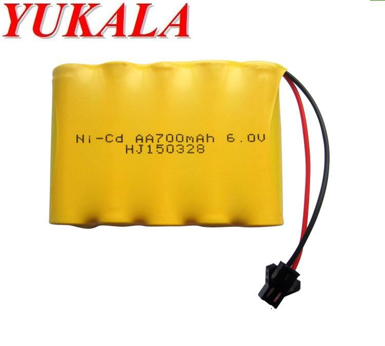 YUKALA 6v 700mah ni-cd 6v aa battery nicd batteries pack ni cd rechargeable for RC boat model car  toys tank Free shipping