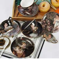 Cour européenne figure peinture café tasse ensembles créatif os chine porcelaine thé tasse ensemble après-midi thé fête cadeaux de mariage
