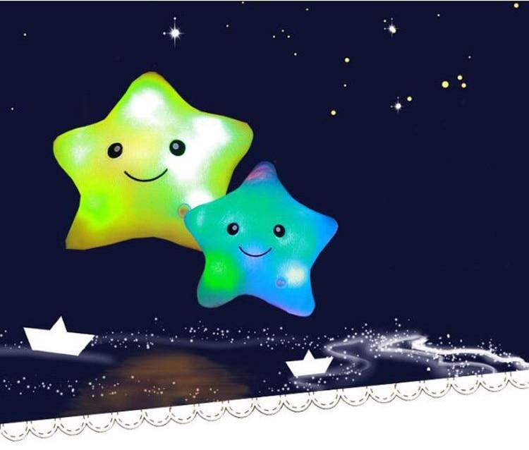 HTB1eF0sbQ5E3KVjSZFCq6zuzXXaX LREA beautiful cojines Colorful Stars Luminous cushion Led Light plush toy pillow Hot sale