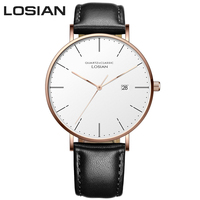 LOSIAN Wrist Watch Men's Watch 2018 Complete Calendar Water Resistant 3mm Slim Watch for Men relojes jam tangan pria orologio