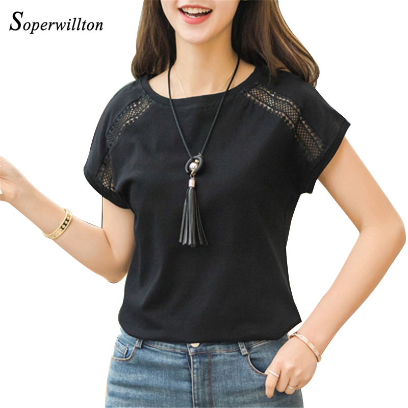 Cotton Summer Blouses Lace Batwing Sleeve Shirts For