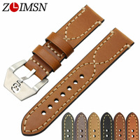 ZLIMSN High Quality Skull Buckle Thick Genuine Leather Watch Bands Strap Green Black 20 22 24