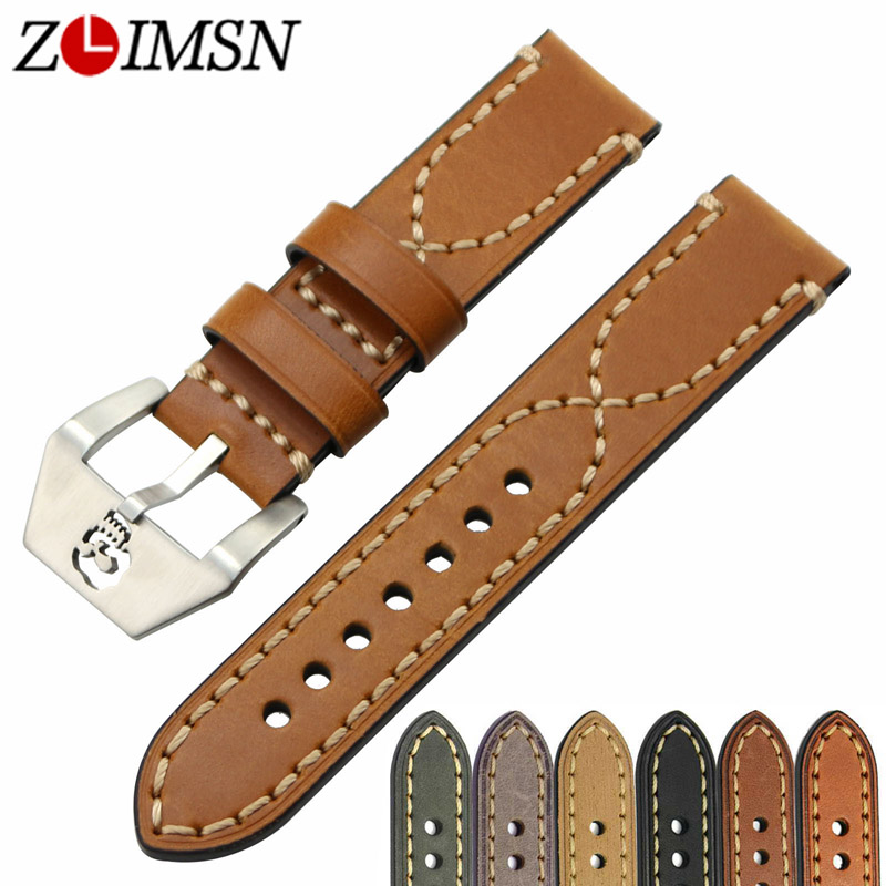 ZLIMSN Thick Genuine Leather Watch Band 20 22 24 26mm Strap Belt Replacement Stainless Steel Skull Buckle Relojes Hombre zlimsn genuine leather watchbands black brown yellow thick watch band strap belt stainless steel buckle brushed 20 22 24 26mm