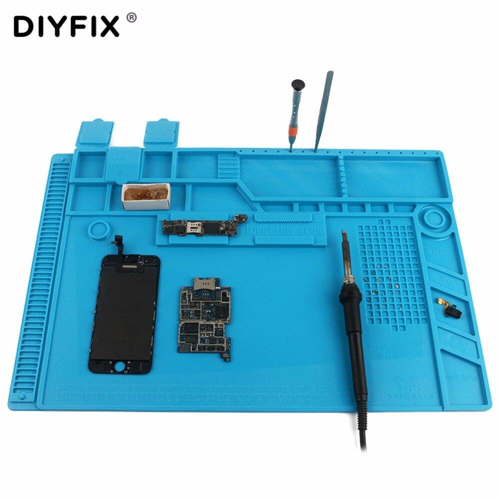 DIYFIX S-170 480x318mm Silicone Pad Bureau Travail Tapis D'isolation thermique Plate-Forme de Maintenance pour BGA PCB À Souder Réparation outil