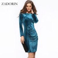Plus Size Elegant Long Sleeve Office Dress Women Velvet Knee Length Pencil Dresses Spring Autumn Black