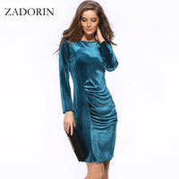 Plus Size Elegant Long Sleeve Office Dress Women Velvet Knee Length Pencil Dresses Spring Autumn Black