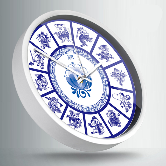 Retro Blue And White Porcelain Wall Clock Creative Zodiac Animal 12 Constellations Watch Decoration Metal