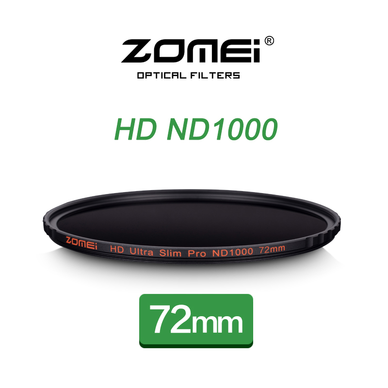 ZOMEI 72mm ND1000 Filter Pro 10 Stop HD MC Optical Glass Neutral Density ND 3.0 1000 Filter For Nikon Canon 18-200mm DSLR Lens