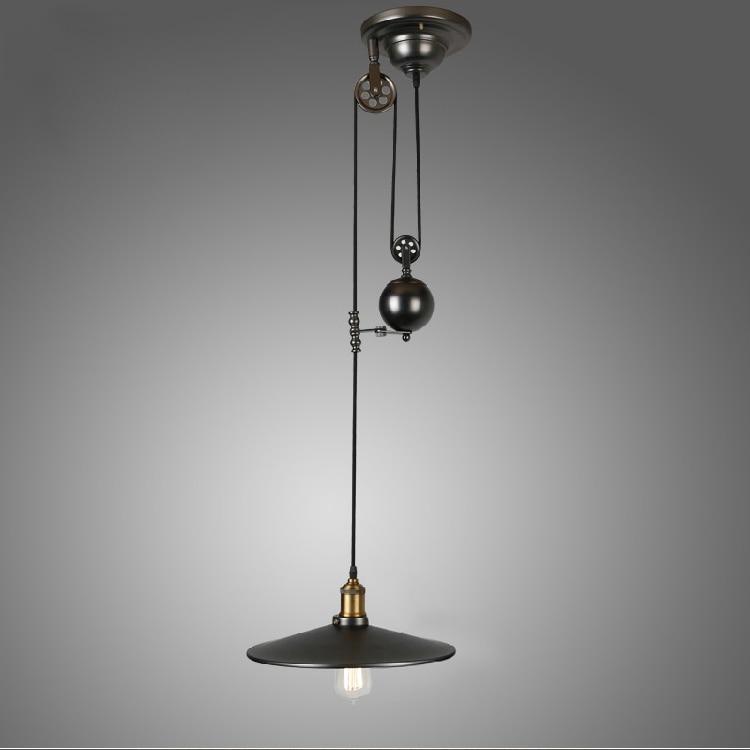 E27 Edison Bulb lamp Loft Vintage Industrial Retro Iron Pulley pendant light Loft Vintage Retro Wrought Iron Black pendant lamps