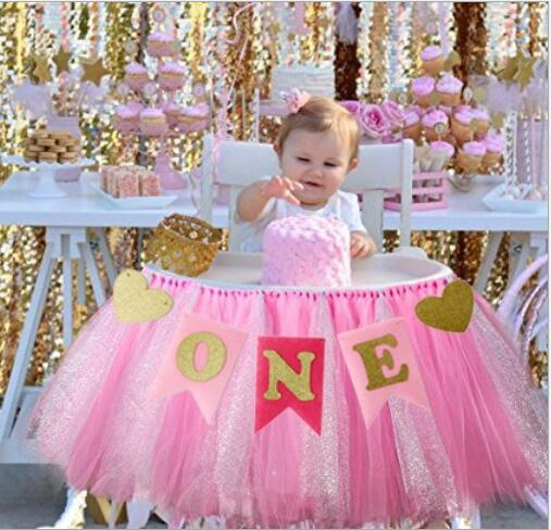 Funnybunny 1st Birthday Tutu Skirt For High Chair Decoration For Party Supplies Baby Pink Event & Party