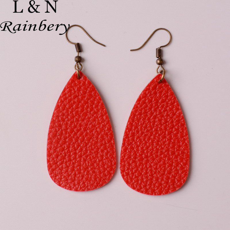 Rainbery 2018 New Teardrop Leather Earrings Antique Looking Various MultiColors Leather Dangle Earrings JE0567