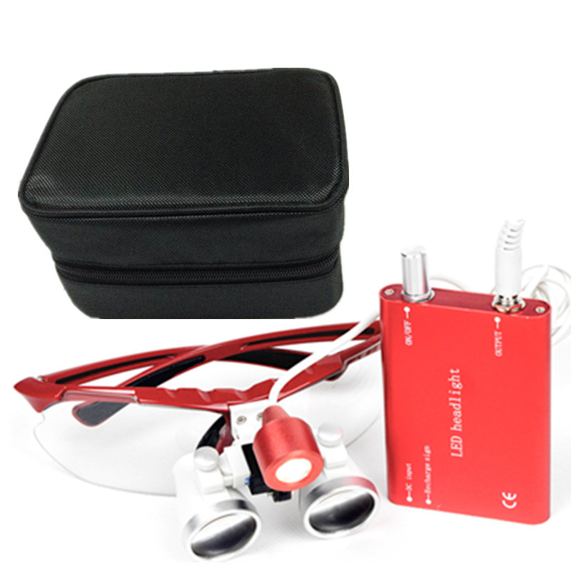 Dental Surgical Medical Binocular Loupes 3.5X and 2.5x Optical Glass Loupe+LED Head Light Lamp+Black case Five color for loupes 5lens led light lamp loop head headband magnifier magnifying glass loupe 1 3 5x y103