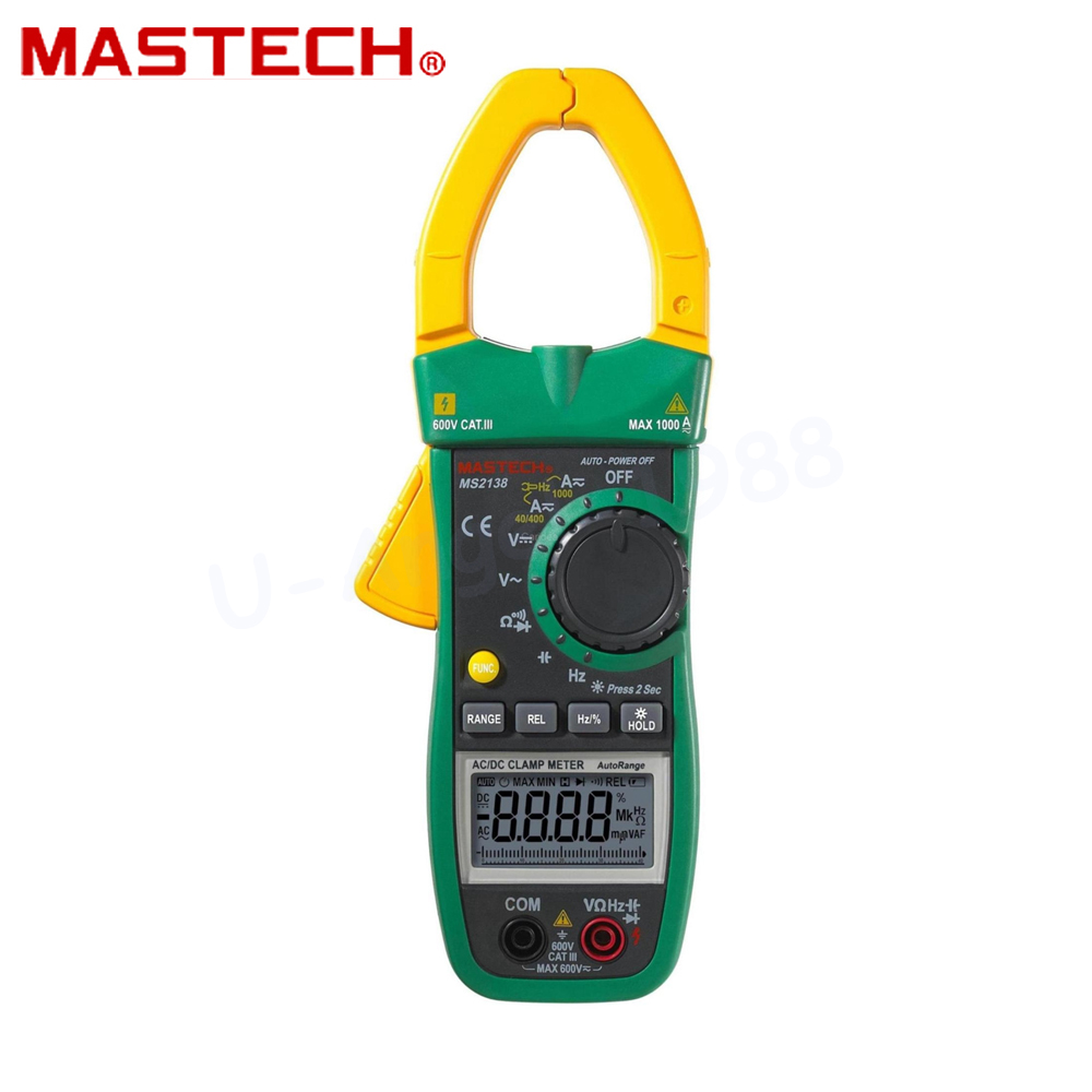 Mastech MS2138 Digital Clamp Meter Multimeter DC/AC Voltage Current 1000A Pinza Amperimetrica LCD Multimetro Diagnostic-tool mastech ms2138 ac dc digital clamp meter 1000a multimeter electrical current 4000 counts voltage tester