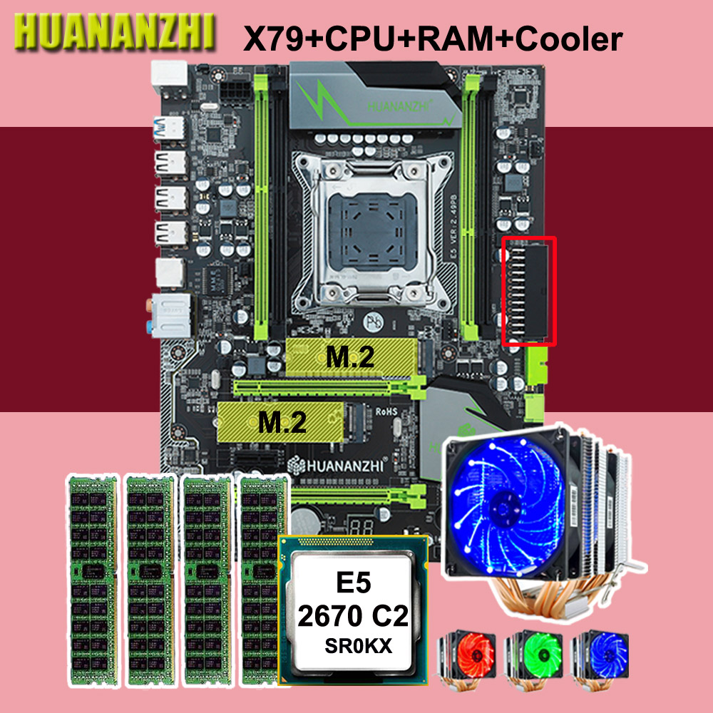 X79 HUANANZHI desconto motherboard motherboard Pro com DUAL slot NVMe M.2 CPU Xeon E5 2670 C2 6 tubos RAM cooler 64G (4*16G)