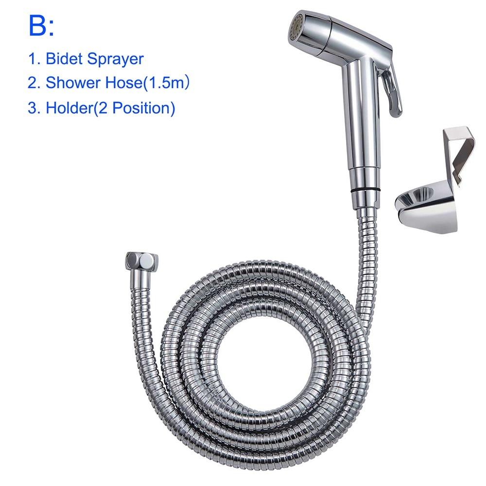 Hibbent Dual Function 2 Sprayer Personal Hygiene Cleaning With No Leaking Toilet Attachment Hand Held Bidet Toilet Sprayer Shattaf Cloth Diaper Sprayer Kit Chrome Stream Jet