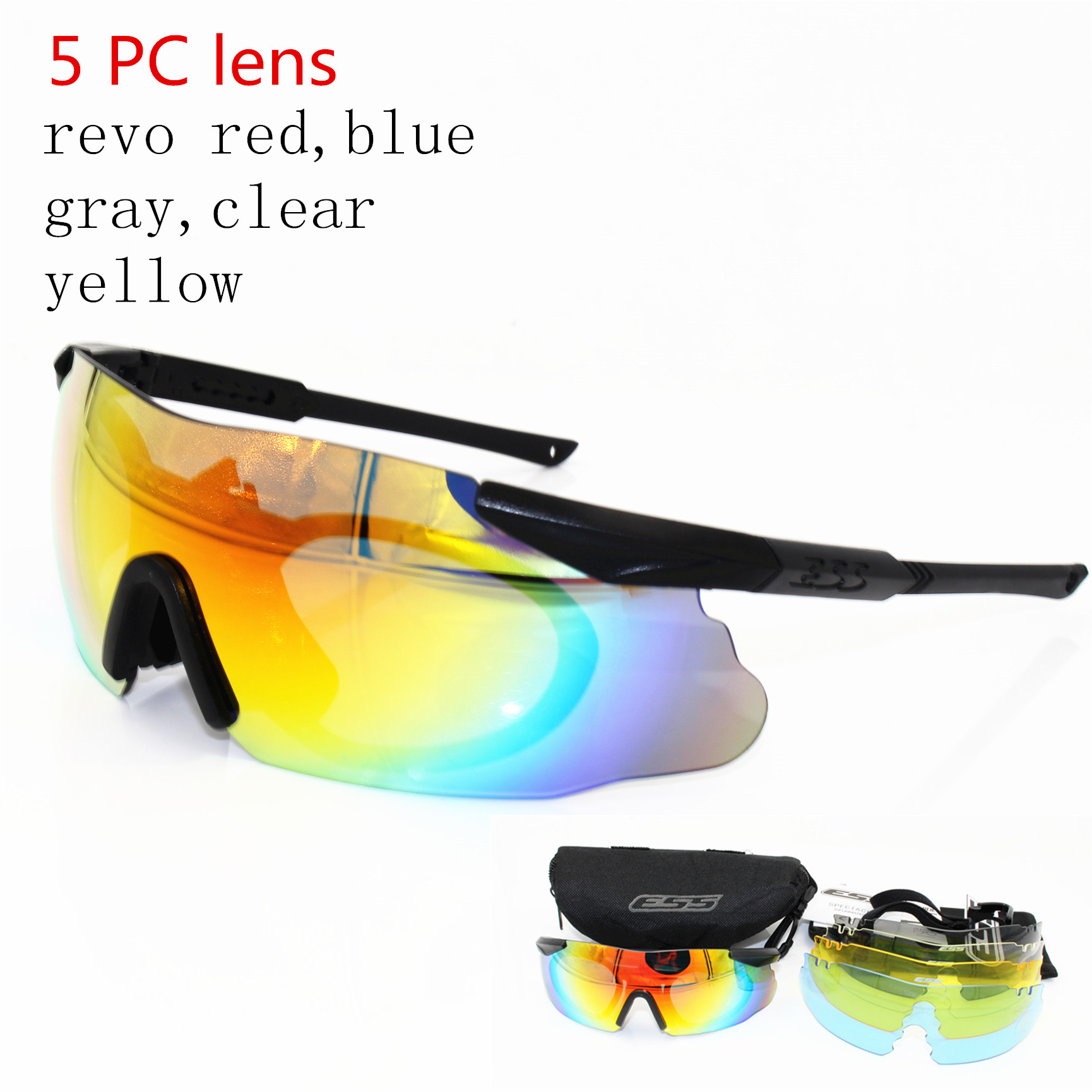 ESS 5 Lens Men Cycling Sunglasses Military ICE Safety Glasses Tactical Army Goggles TR90 Outdoor Hunting Combat Wargame Eyewear