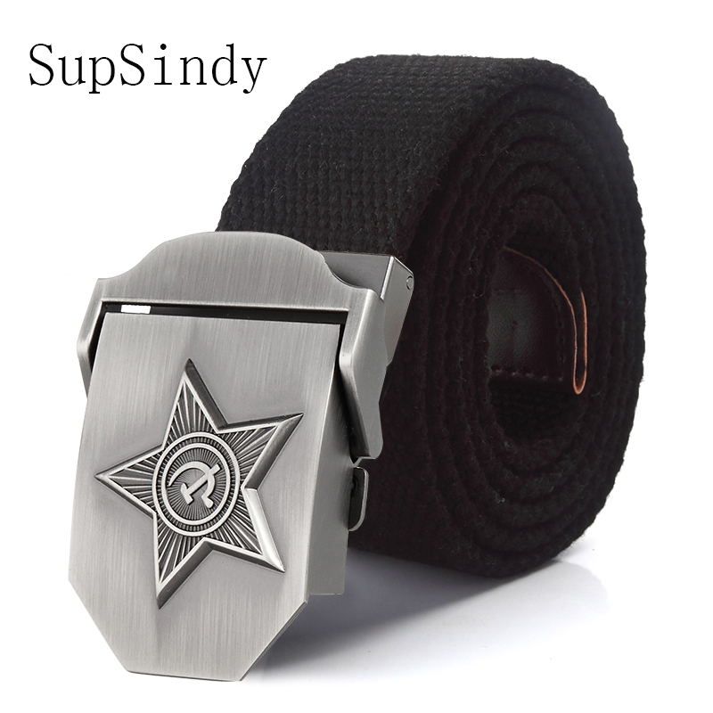 SupSindy Men&Women High Quality 3D Five Rays Star Military Belt Old CCCP Army Belt Patriotic Retired Soldiers Canvas Jeans Belts