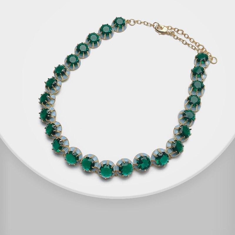 Amorita boutique zielony okrągły design moda naszyjnik w Naszyjniki łańcuszkowe od Biżuteria i akcesoria na  Grupa 1