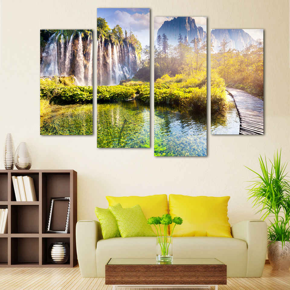 Schon 4 Panel Kostenloser Versand Landschaft Wasserfall Gedruckt Auf Leinwand  Home Dekorative Wandmalerei Fur Wohnzimmer Kein Rahmen  In Painting U0026  Calligraphy ...