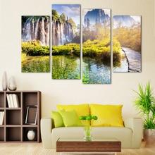 4 Panel Kostenloser Versand Landschaft Wasserfall Gedruckt Auf Leinwand  Home Dekorative Wandmalerei Fur Wohnzimmer Kein Rahmen