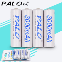 New Brand Palo Battery Lowself Discharger Card Packing 4pcs 1 2V AA 3000mAh NIMH Rechargeable Battery