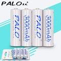 Nueva marca palo batería descargador lowself-dischage tarjeta embalaje 4 unids 1.2 v aa 3000 mah nimh batería recargable