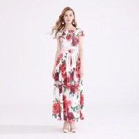 Strap Long Dress for Party Wedding Women Sexy Off Shoulder Romantic Rose Flower Print Floor Length Maxi Dress With Belt 4xl 5xl