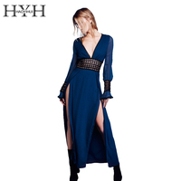 HYH HAOYIHUI Sexy Plunge Neck Lace Dress Women Elegant Backless Long Sleeve Party Dress Vestidos Hollow
