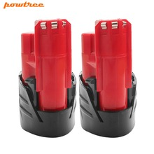 Powtree For Milwaukee 2PCS 2000mAh 12V M12 Red Power tool Battery Replacement 48-11-2420 48-11-2401 M12 C12 BX C12 B