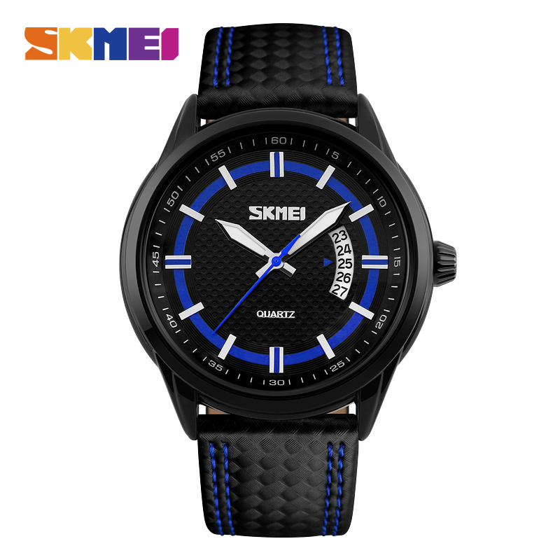 SKMEI Men Sport Quartz Watches Causal Fashion Watch Leather Strap 50M Waterproof Date Wristwatches Male Relogio Masculino 9116 skmei 1078 men quartz watch