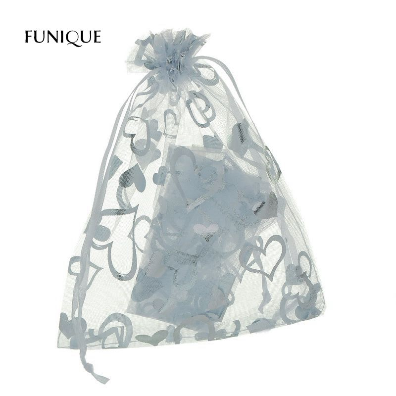 FUNIQUE 25Pcs/Set Organza Gift Bags White Hearts Storage Bags Charms Wedding Favours Silver Stars Silk Bags Gifts Holder 13x16cm
