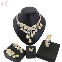 YULAILI 2018 Popular High Quality AD Design Wedding Bridal Costume Gold Color Zircon Jewelry Sets