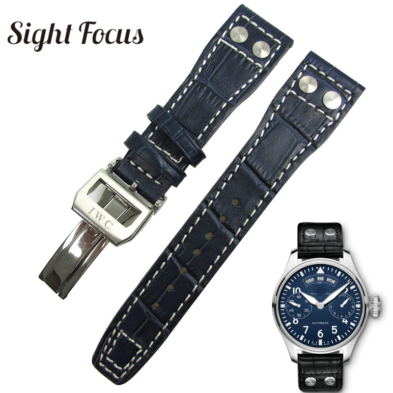 Dark Blue Watch Strap for IWC Watch Band w Deployment Buckle Deployant Clasp Pilot Watch Belt Watch Accessories Bracelets Rivet все цены