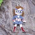 Free Shipping 10Pcs Superwoman Supergirl Super Hero Rhinestone Pendant Chunky Necklace Beads, Jewelry Accessories