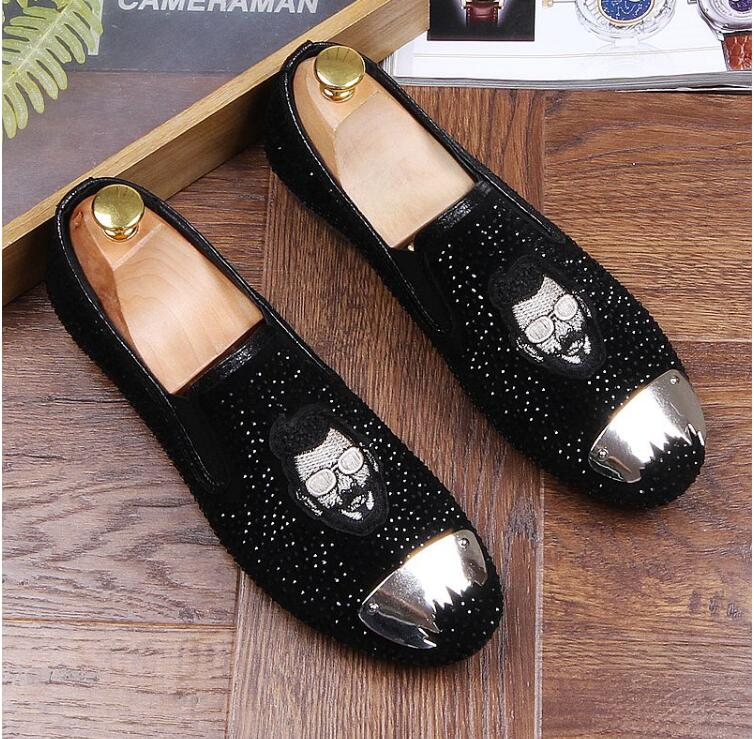 Robe 880 Homme Désherbage Parti or Luxe Casual Mocassins Hommes Rivets Mode Glitter Black Slip On Chaussures Loisirs Or Broderie De Aq5RjL43
