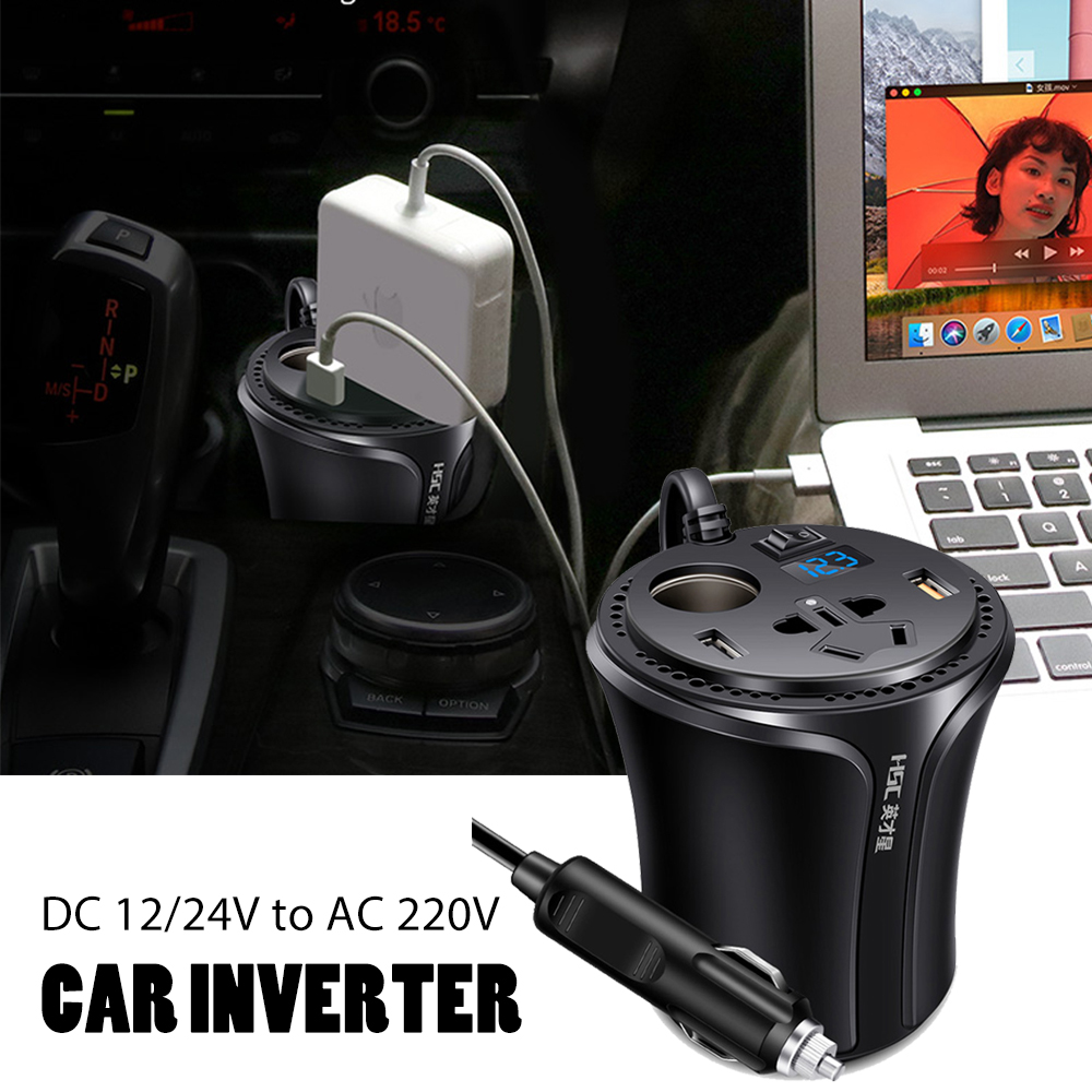 Portable Mini Cup Car Charger Car Power Inverter DC to AC 12v to 220v Cigarette Lighter Socket Splitter with Independent Switch
