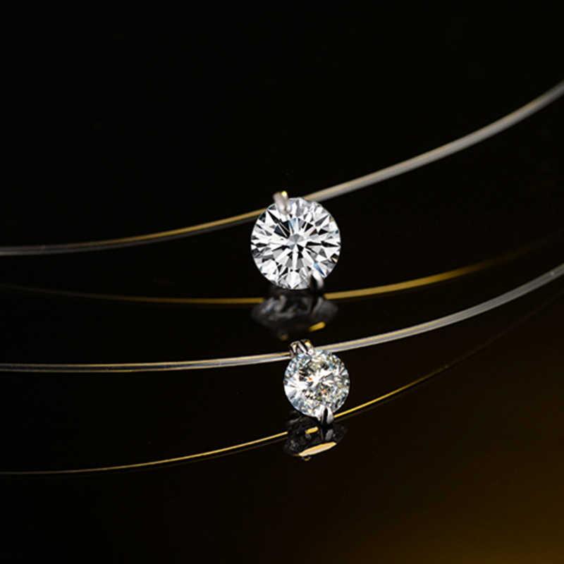 925 Sterling Silver Menyilaukan Zircon Kalung Invisible Line Transparan Memancing Liontin Kalung Choker Kerah Perhiasan untuk Wanita