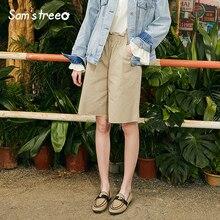 Samstree Cotton Woman Half Pants Casual Solid Mid Waist Knee Length Elastic Female Trousers Wide Leg