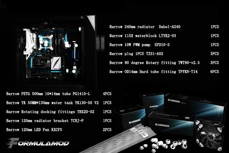 Barrow YR01, Hardtube CPU Water Cooling Kits, 240mm Radiator, CPU Block, 130mm Reservoir, for CPU cooling AM3/AM4/115X/2011