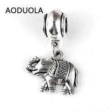10 Pcs a Lot Cute Animal elephant Pendant Beads Silver Plated DIY Big Hole Spacer Bead Charm Fit For Pandora Charms Bracelet e18k gold alloy beads dolphin shap diy big hole beads spacer murano bead charm fit for pandora bracelet charms 50