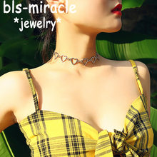 Bls-miracle Fashion Love Heart Link Single Layer Choker Necklaces For Women Golden Necklace Jewelry Valentines Party Girl Gift(China)